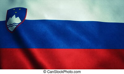 Realistic Ultra-HD flag of the Slovenia waving in the wind. Seamless loop with highly detailed fabric texture