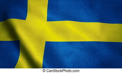 Realistic Ultra-HD flag of the Sweden waving in the wind. Seamless loop with highly detailed fabric texture