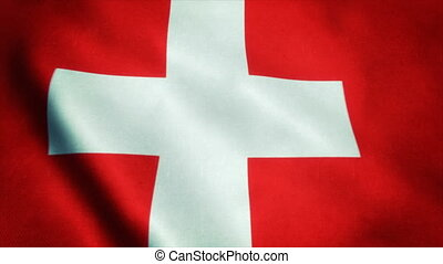 Realistic Ultra-HD flag of the Switzerland waving in the wind. Seamless loop with highly detailed fabric texture