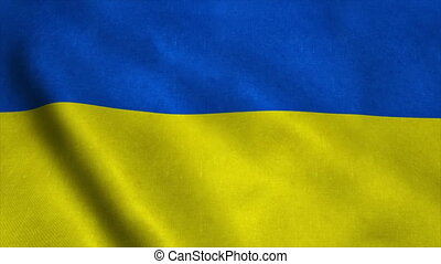 Realistic Ultra-HD flag of the Ukraine waving in the wind. Seamless loop with highly detailed fabric texture