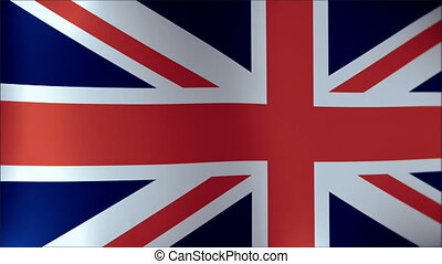 Realistic Ultra-HD flag of the United Kingdom waving in the wind. Seamless loop with highly detailed fabric texture.