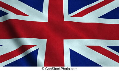 Realistic Ultra-HD flag of the United Kingdom waving in the wind. Seamless loop with highly detailed fabric texture