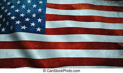 Realistic Ultra-HD flag of the USA waving in the wind. Seamless loop with highly detailed fabric texture