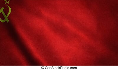 Realistic Ultra-HD flag of the USSR waving in the wind. Seamless loop with highly detailed fabric texture