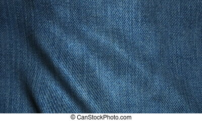 Realistic Ultra-HD jeans cloth waving in the wind. Seamless loop with highly detailed fabric texture