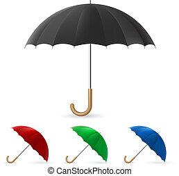 Realistic umbrella in four colors