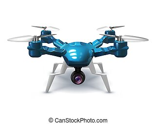 Realistic unmanned drone with recording camera. Copter with...