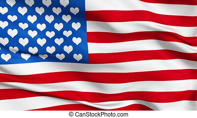 Realistic USA love flag in the wind