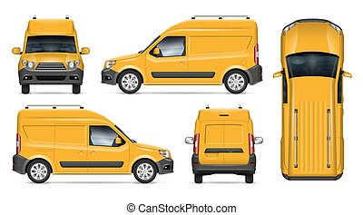 Realistic van vector template. Vehicle mockup side, front, back, top view