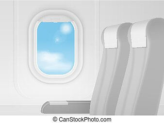 Realistic vector airplane transport Interior. Aircraft inside seats chairs near window. Business class travel concept.