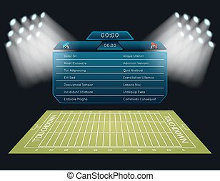 Realistic vector american football field with scoreboard