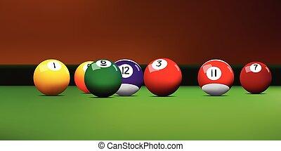 Realistic vector assorted billiard balls on the green billiard table.