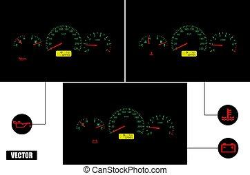 realistic., vector., automobile, malfunzionamento, indicators.
