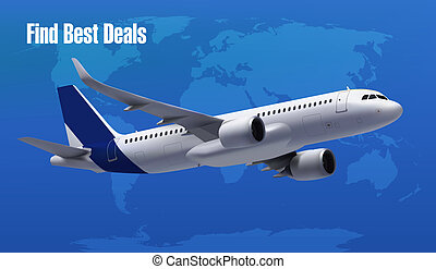Realistic Vector Banner for Cheap Flights Business Promotion On World Map - Template Mockup Easy to Edit