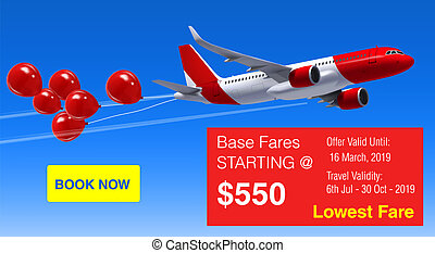 Realistic Vector Banner for Cheap Flights Business Promotion - Template Mockup Easy to Edit