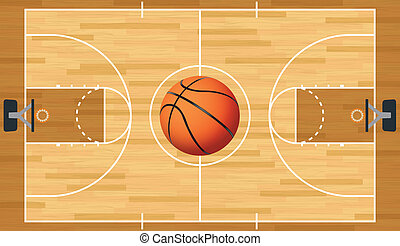 Realistic Vector Basketball Court and Ball - A realistic...
