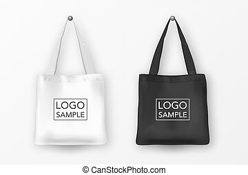 Realistic vector black and white empty textile tote bag icon...