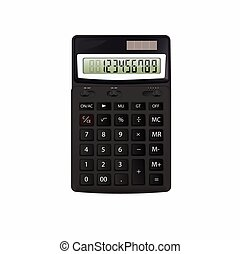 Realistic vector black calculator isolated on white background.