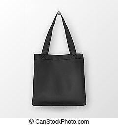 Realistic vector black empty textile tote bag. Closeup...