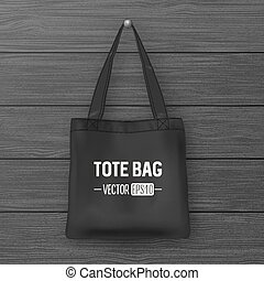 Realistic vector black empty textile tote bag. Closeup on...