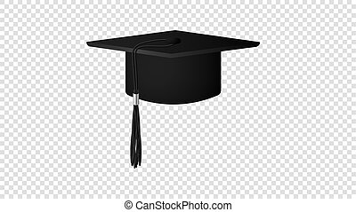 Realistic Vector Black Graduate Hat Isolated On Transparent Background