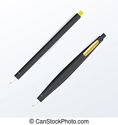 Realistic vector black pen set. Corporate identity and branding stationery.