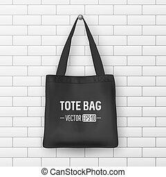 Realistic vector black textile tote bag. Closeup on brick...