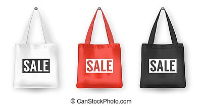 Realistic vector black, white and red empty textile shopping tote bag icon set, with word SALE. Closeup isolated on white background. Design templates for advertise, branding, mockup. EPS10.
