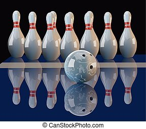 Realistic vector bowling ball and pins. - Realistic vector...