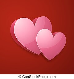 Realistic vector bright pink Valentines hearts
