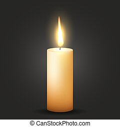 Realistic Vector Candle is glowing black background
