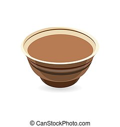 Realistic vector clay pot, traditional European pottery ideal for baking food and cooking in the oven. Graphic illustration for product promotion and advertising isolated on white background