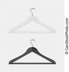 Realistic vector clothes coat black and white hanger icon...