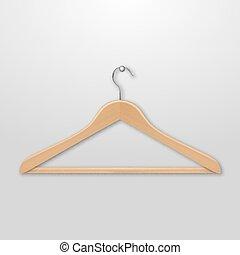 Realistic vector clothes coat wooden hanger close up...