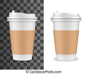 Realistic vector coffee cup, tea plastic 3D mockup - Coffee ...