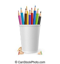 Realistic vector color pencils in glass isolated on white background