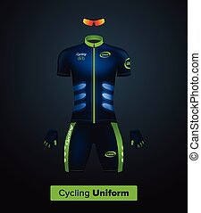 Realistic vector cycling uniform template. Blue and green. Branding mockup. Bike or Bicycle clothing and equipment. Special kit — short sleeve jersey, gloves and sunglasses. Front view.