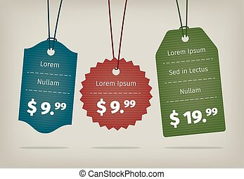 Realistic vector EPS10 hanging cardboard pricing tags