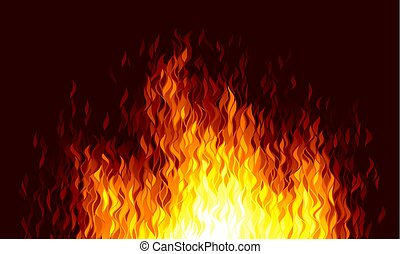 Realistic vector fire flames on black background