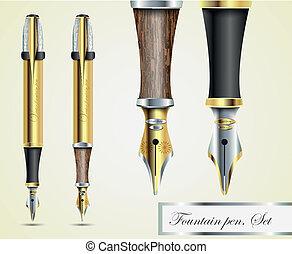 realistic vector fountain pen icons