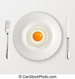 Realistic vector fried egg icon on a plate with fork and knife. Design template.