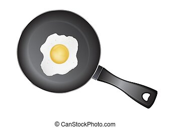 Realistic vector fried egg on black pan, top view.