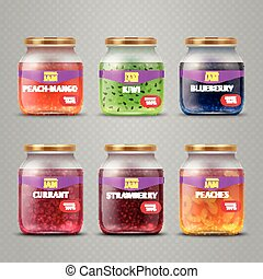 Realistic vector fruit jam glass jars isolated