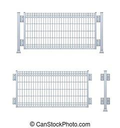Realistic vector galvanized sheet metal fence panel. ...