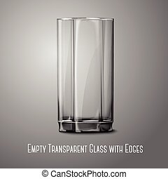 Realistic Vector glass isolated on gray. Transparent for every background.