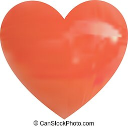 Realistic VECTOR glossy red heart on white