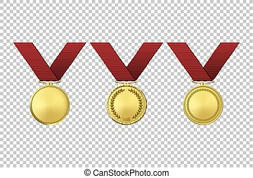Realistic vector golden award medals icon set. Closeup isolated on transparent background. Design template, mockup in EPS10.