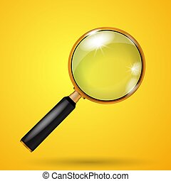 Realistic vector golden magnifying glass on a yellow background