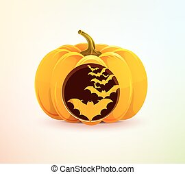 Halloween pumpkin with a carved bats