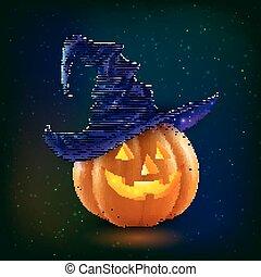 Realistic vector happy Halloween pumpkin in violet witch hat on dark background